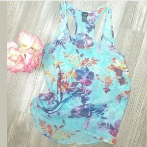 Daytrip Sz S Sheer Racer back Floral Tank Top